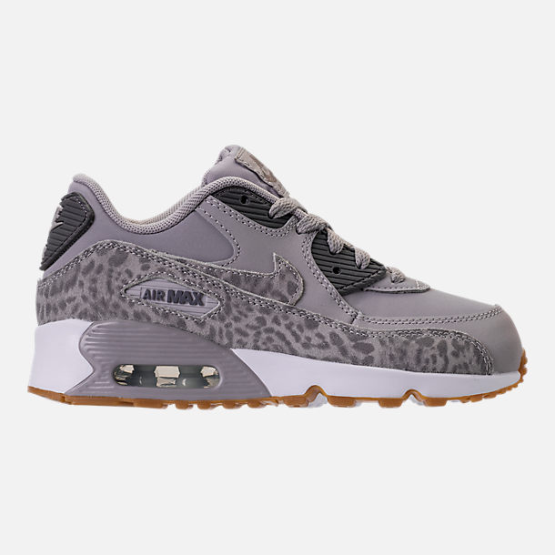 Right view of Girls' Preschool Nike Air Max 90 SE Leather Running Shoes in Atmosphere Grey/Gunsmoke