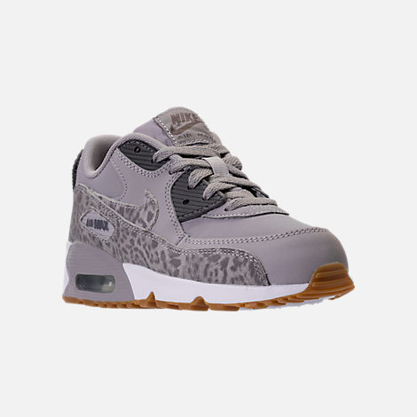 Three Quarter view of Girls' Preschool Nike Air Max 90 SE Leather Running Shoes in Atmosphere Grey/Gunsmoke