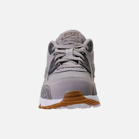 Front view of Girls' Preschool Nike Air Max 90 SE Leather Running Shoes in Atmosphere Grey/Gunsmoke