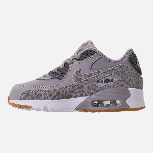 Left view of Girls' Preschool Nike Air Max 90 SE Leather Running Shoes in Atmosphere Grey/Gunsmoke
