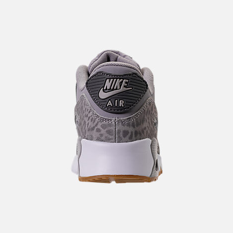 Back view of Girls' Preschool Nike Air Max 90 SE Leather Running Shoes in Atmosphere Grey/Gunsmoke