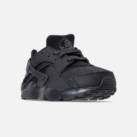 Three Quarter view of Girls' Little Kids' Nike Huarache Run SE Running Shoes in Black/Black