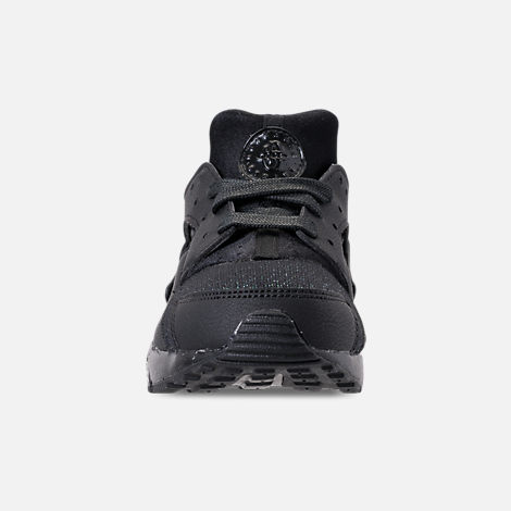 Front view of Girls' Little Kids' Nike Huarache Run SE Running Shoes in Black/Black