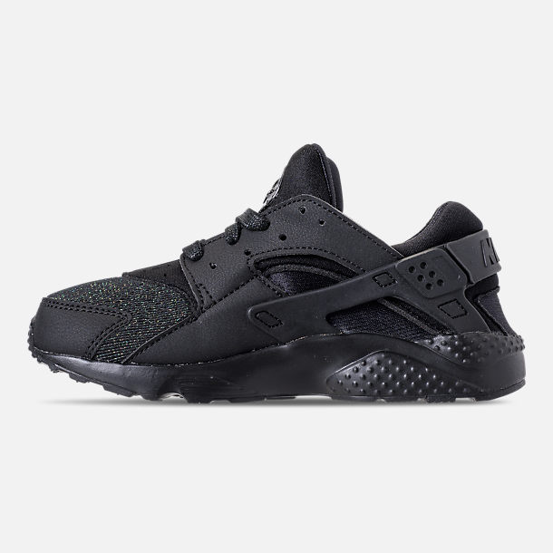 Left view of Girls' Little Kids' Nike Huarache Run SE Running Shoes in Black/Black