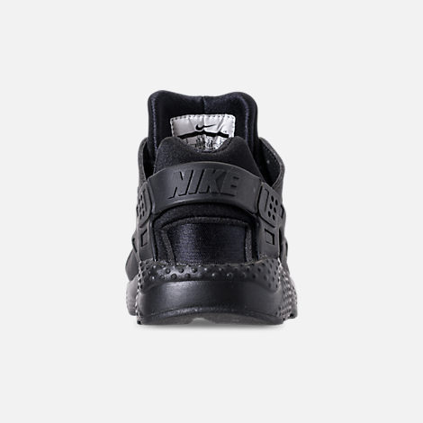 Back view of Girls' Little Kids' Nike Huarache Run SE Running Shoes in Black/Black