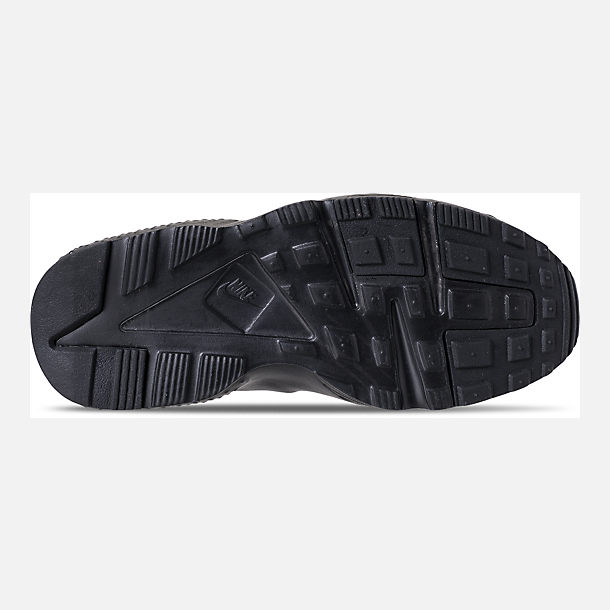 Bottom view of Girls' Little Kids' Nike Huarache Run SE Running Shoes in Black/Black