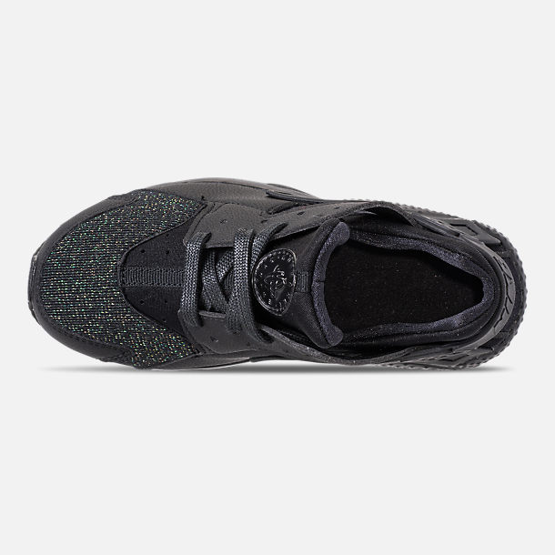 Top view of Girls' Little Kids' Nike Huarache Run SE Running Shoes in Black/Black
