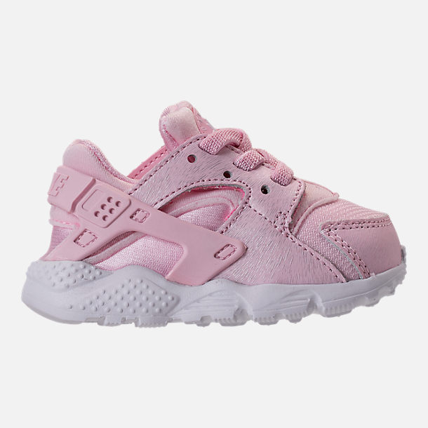 Right view of Girls' Toddler Nike Huarache Run SE Running Shoes in Prism Pink/White