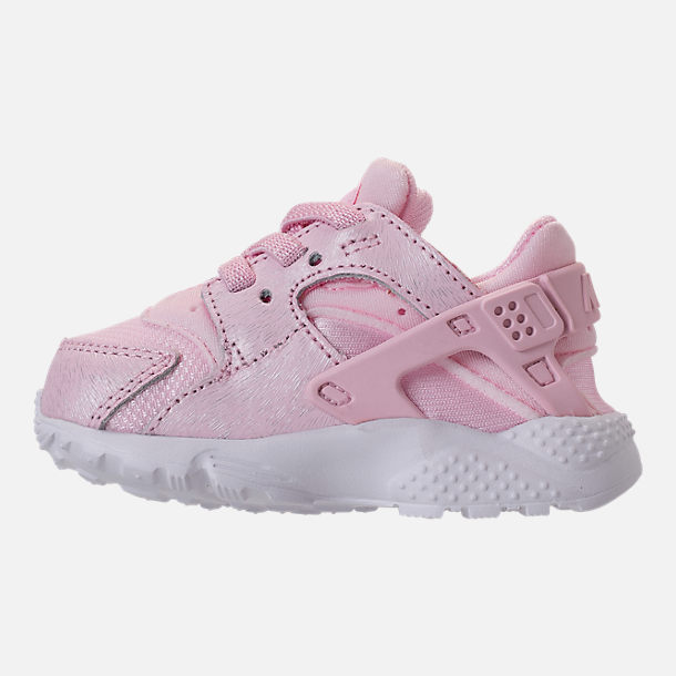 Left view of Girls' Toddler Nike Huarache Run SE Running Shoes in Prism Pink/White