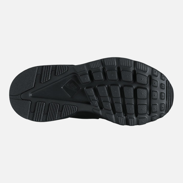Bottom view of Boys' Preschool Nike Air Huarache Run Ultra Casual Shoes in Black/Black/Black