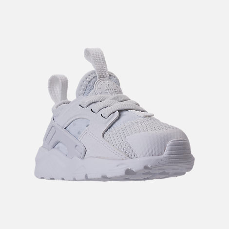 Three Quarter view of Kids' Toddler Nike Air Huarache Run Ultra Casual Shoes in White/White/White