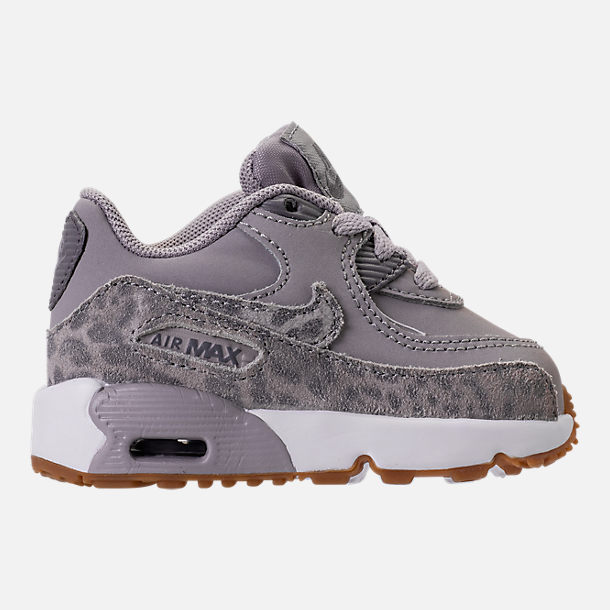 Right view of Girls' Toddler Nike Air Max 90 SE Leather Running Shoes in Atmosphere Grey/Gunsmoke/Gum Light Brown