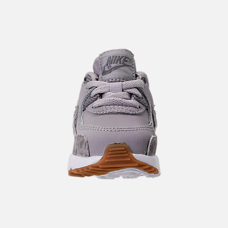 Front view of Girls' Toddler Nike Air Max 90 SE Leather Running Shoes in Atmosphere Grey/Gunsmoke/Gum Light Brown