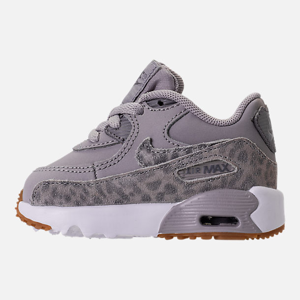 Left view of Girls' Toddler Nike Air Max 90 SE Leather Running Shoes in Atmosphere Grey/Gunsmoke/Gum Light Brown