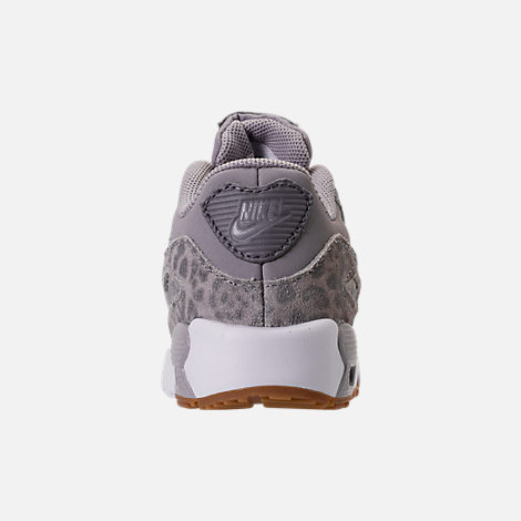 Back view of Girls' Toddler Nike Air Max 90 SE Leather Running Shoes in Atmosphere Grey/Gunsmoke/Gum Light Brown