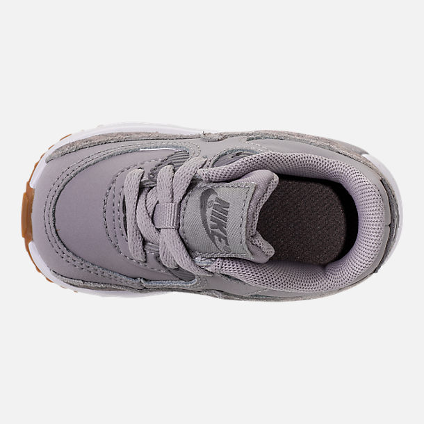 Top view of Girls' Toddler Nike Air Max 90 SE Leather Running Shoes in Atmosphere Grey/Gunsmoke/Gum Light Brown
