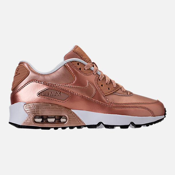 Right view of Girls' Grade School Nike Air Max 90 SE Leather Running Shoes in Metallic Red Bronze/Metallic Red Bronze