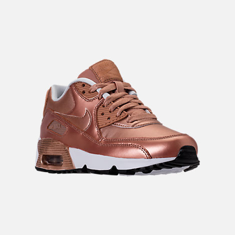 Three Quarter view of Girls' Grade School Nike Air Max 90 SE Leather Running Shoes in Metallic Red Bronze/Metallic Red Bronze