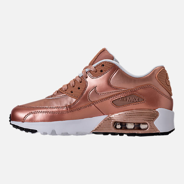 Left view of Girls' Grade School Nike Air Max 90 SE Leather Running Shoes in Metallic Red Bronze/Metallic Red Bronze