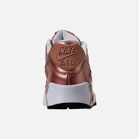 Back view of Girls' Grade School Nike Air Max 90 SE Leather Running Shoes in Metallic Red Bronze/Metallic Red Bronze