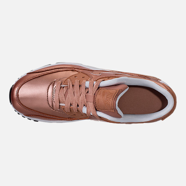 Top view of Girls' Grade School Nike Air Max 90 SE Leather Running Shoes in Metallic Red Bronze/Metallic Red Bronze