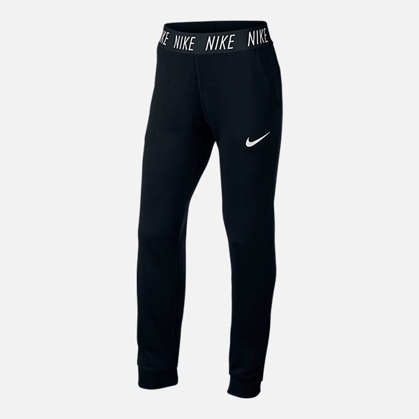 Front view of Girls' Nike Dry Studio Training Pants in Black/White