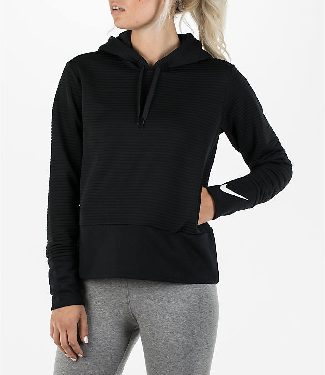Front view of Women's Nike Dry Veneer Quilted Training Hoodie in Black