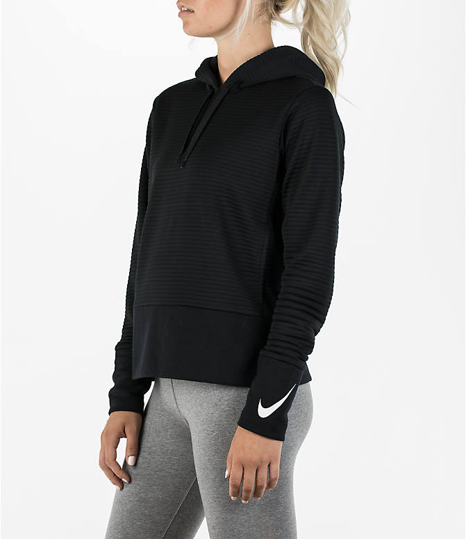 Front Three Quarter view of Women's Nike Dry Veneer Quilted Training Hoodie in Black