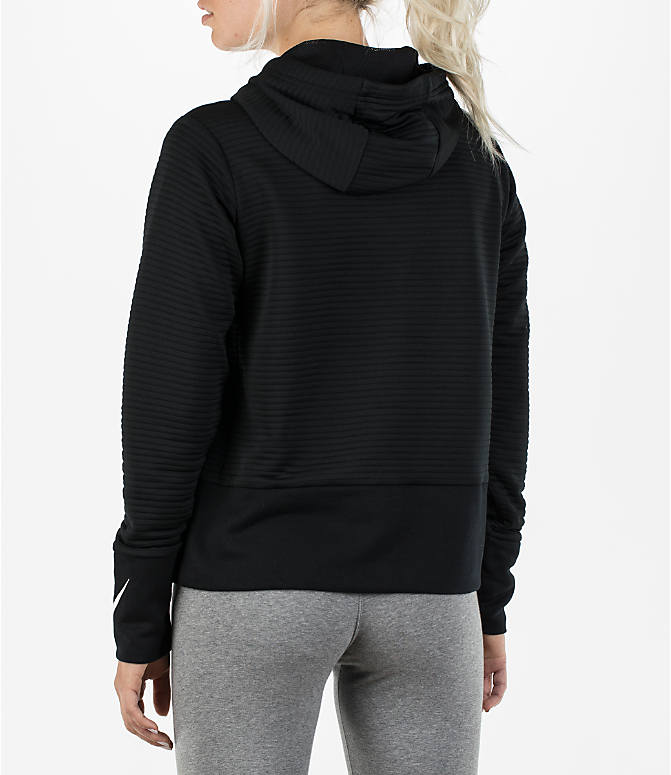 Back Left view of Women's Nike Dry Veneer Quilted Training Hoodie in Black