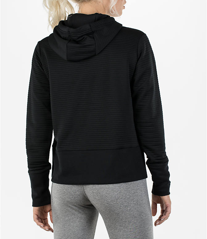 Back Right view of Women's Nike Dry Veneer Quilted Training Hoodie in Black