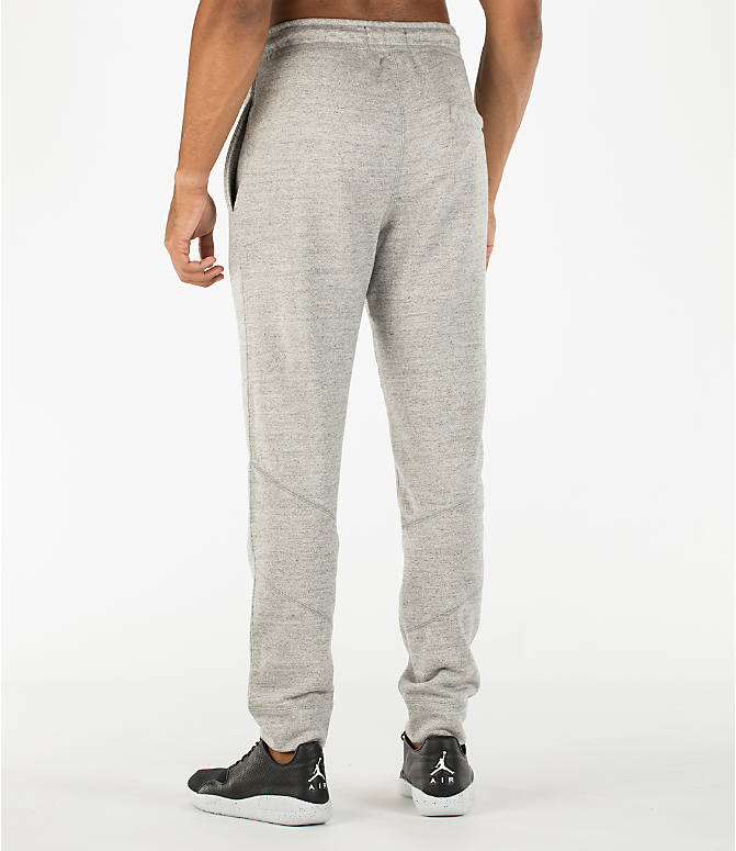 Back Left view of Men's Air Jordan Wings Fleece Jogger Pants in Dark Grey