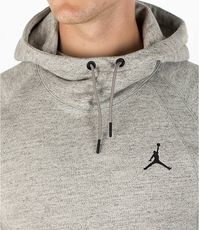 Detail 1 view of Men's Air Jordan Wings Fleece Hoodie in Dark Grey