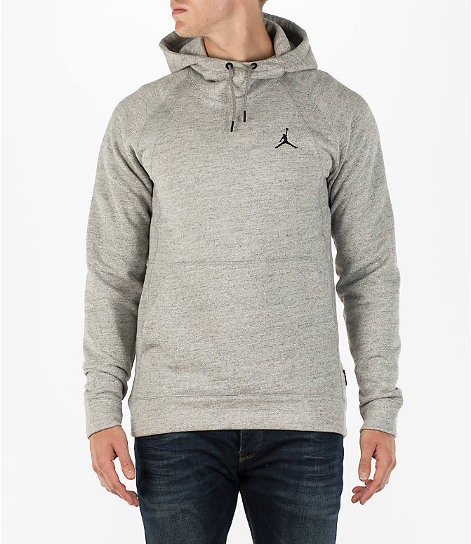 Front view of Men's Air Jordan Wings Fleece Hoodie in Dark Grey