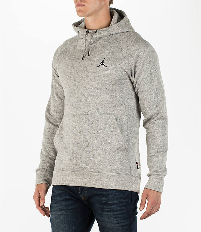 Front Three Quarter view of Men's Air Jordan Wings Fleece Hoodie in Dark Grey