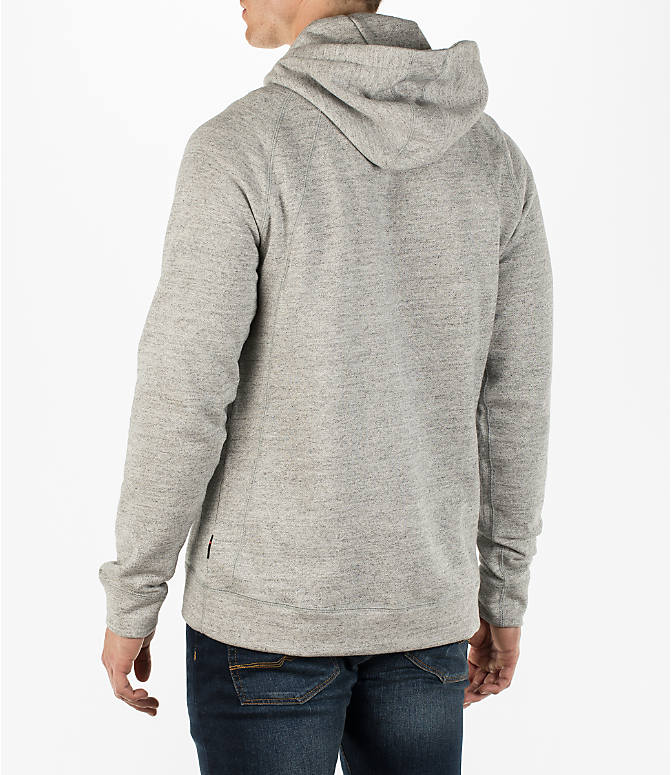Back Left view of Men's Air Jordan Wings Fleece Hoodie in Dark Grey