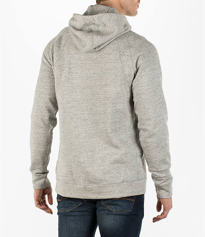 Back Right view of Men's Air Jordan Wings Fleece Hoodie in Dark Grey