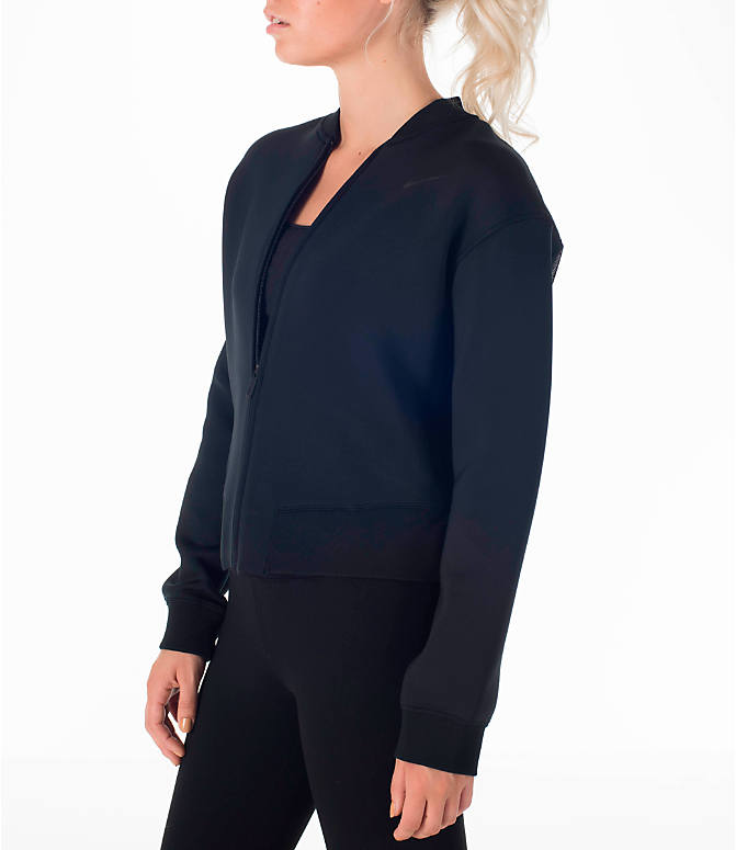 Front Three Quarter view of Women's Nike Therma Sphere Training Jacket in Black