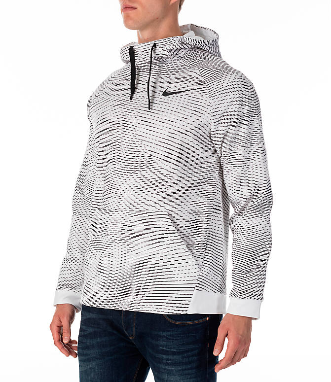 Front Three Quarter view of Men's Nike Therma Storm Training Hoodie in White