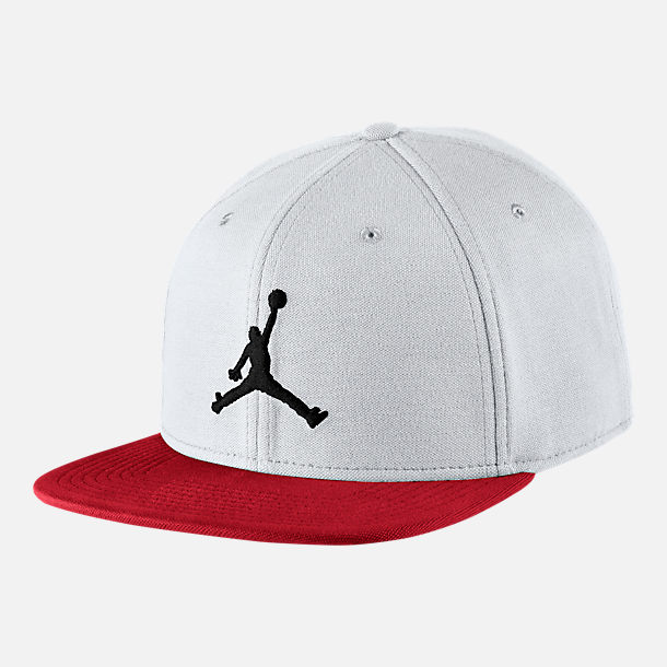 Front view of Jordan Jumpman Snapback Hat in White/Gym Red