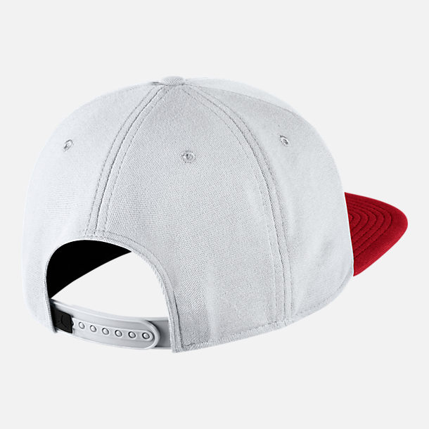 Back view of Jordan Jumpman Snapback Hat in White/Gym Red