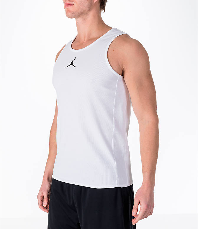 Front Three Quarter view of Men's Air Jordan Rise Basketball Tank in White
