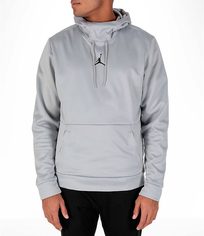 Front view of Men's Air Jordan Therma 23 Alpha Training Hoodie in Wolf Grey