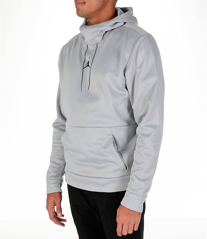 Front Three Quarter view of Men's Air Jordan Therma 23 Alpha Training Hoodie in Wolf Grey