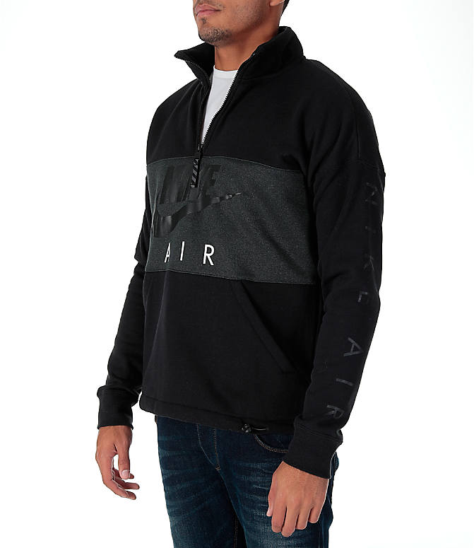 Front Three Quarter view of Men's Nike Air Half-Zip Shirt in Black