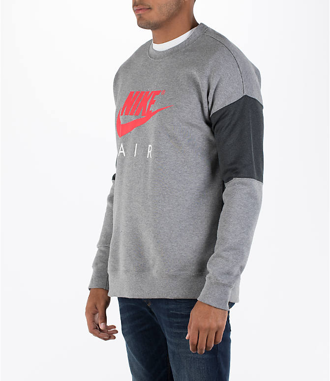 Front Three Quarter view of Men's Nike Air Crew Sweatshirt in Carbon Heather