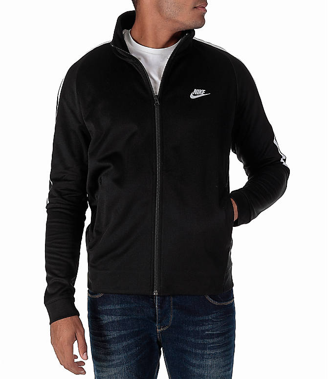 Front view of Men's Nike Sportswear Poly Knit Jacket in Black