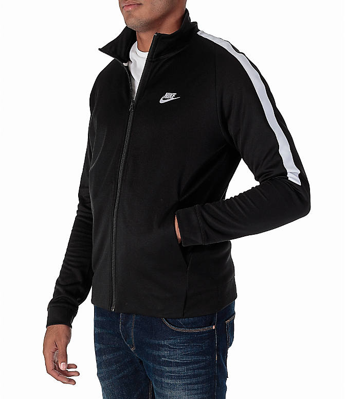 Front Three Quarter view of Men's Nike Sportswear Poly Knit Jacket in Black