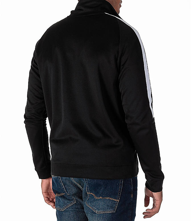 Back Right view of Men's Nike Sportswear Poly Knit Jacket in Black