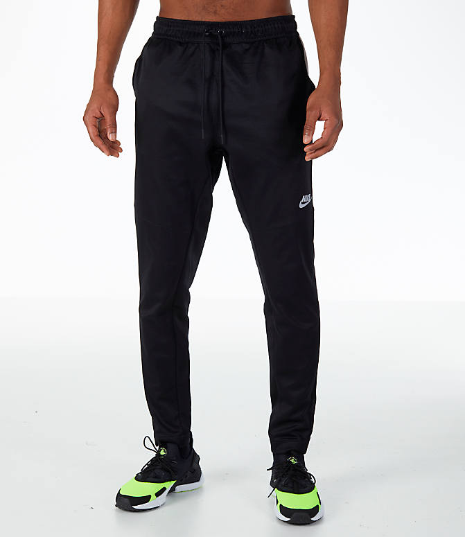 Front Three Quarter view of Men's Nike Sportswear N98 Pants in Black/White