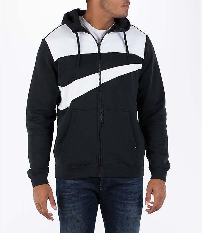 Front view of Men's Nike Hybrid Full-Zip Hoodie in Black